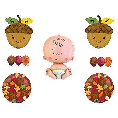 FALL LEAVES BABY ACORN SHOWER Balloons Decoration Supplies Pumpkin Autumn - Pumpkin Balloons