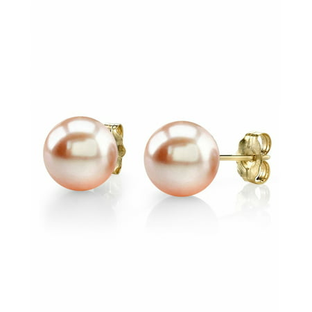 14K Gold 7-8mm Peach Freshwater Cultured Pearl Stud Earrings - AAA (Quality Patch)