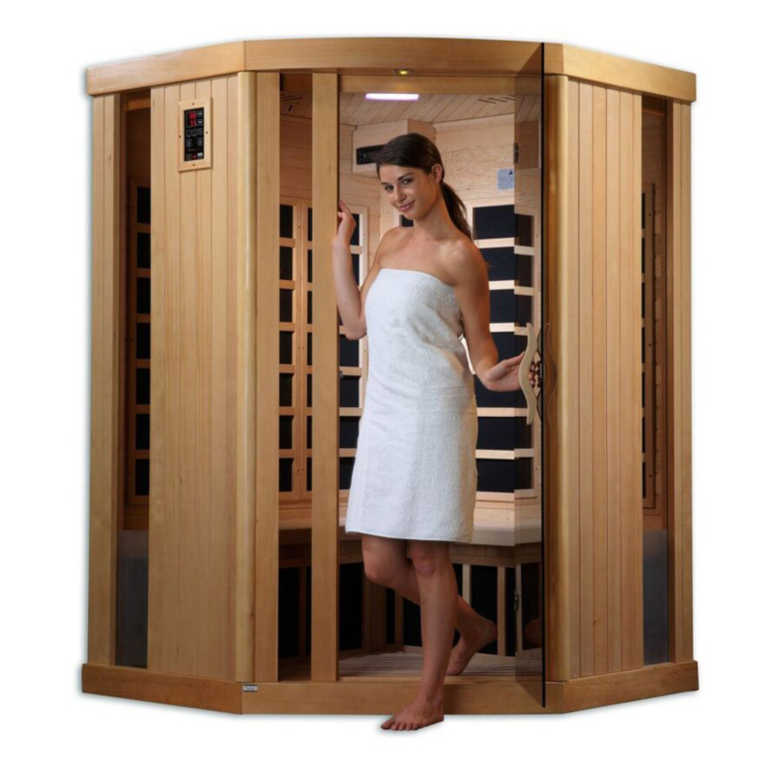 Golden Designs Inc. 3 Person Corner Infrared Sauna by Gold Design Saunas