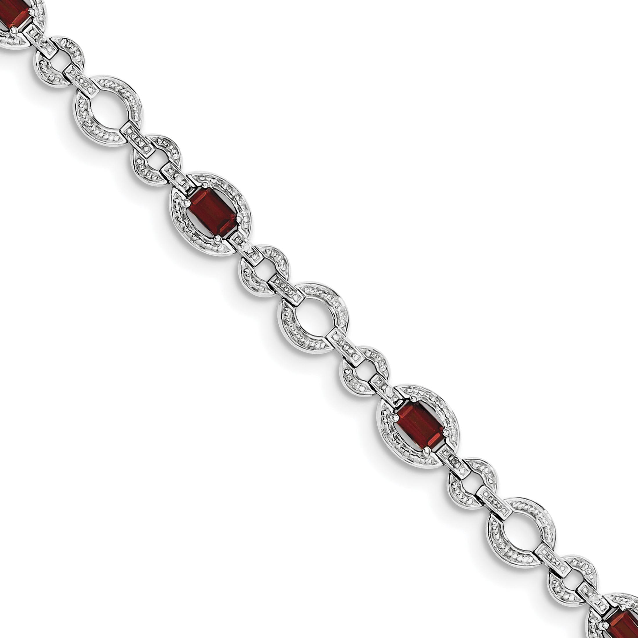 925 Sterling Silver Rhodium-plated Diamond & Garnet Oval Link Bracelet by