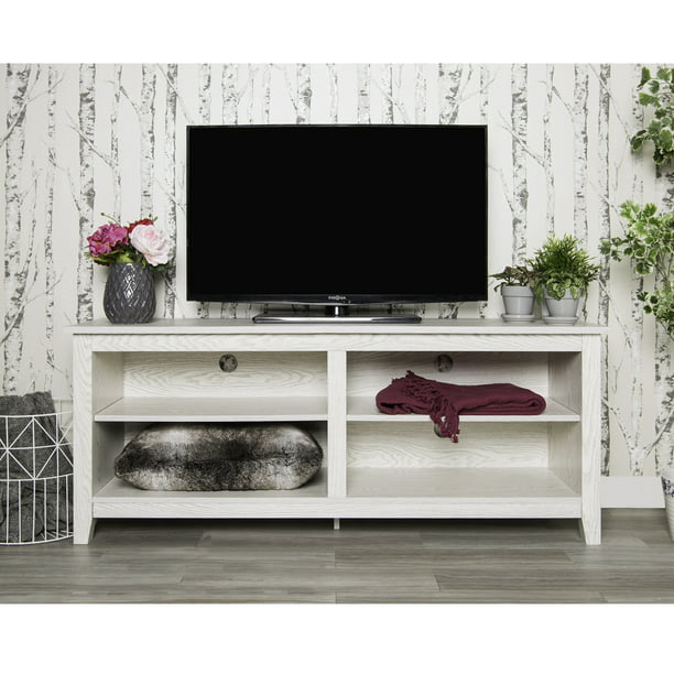 "Walker Edison Wood TV Media Storage Stand for TV's up to 64"" - White Wash"
