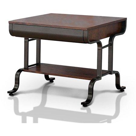 Furniture of America Kado Industrial End Table, Antique Oak ()