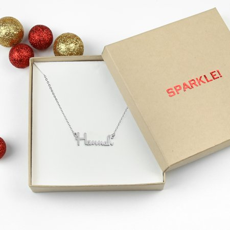 Monogramonline Sterling Silver Name Necklace Sparkle Gift Box