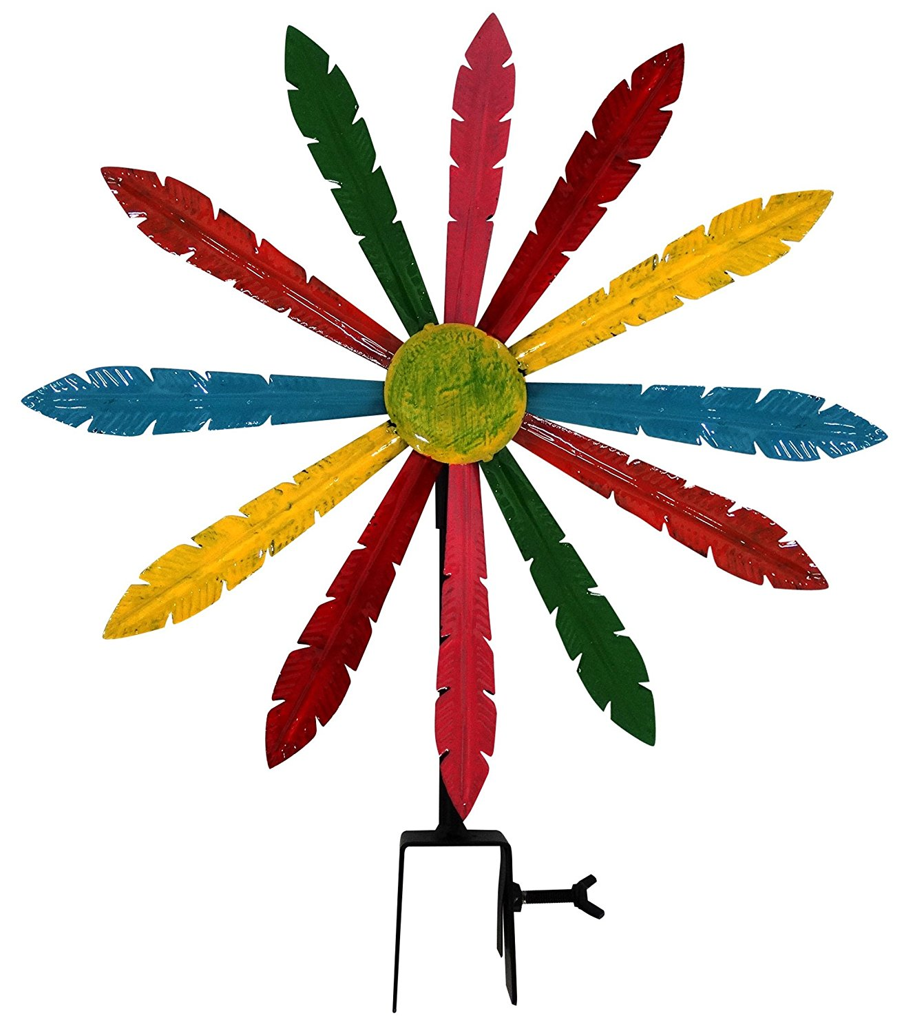 Multi-Color Metal Windmill w  Stake & Fence Topper by Alpine Corporation