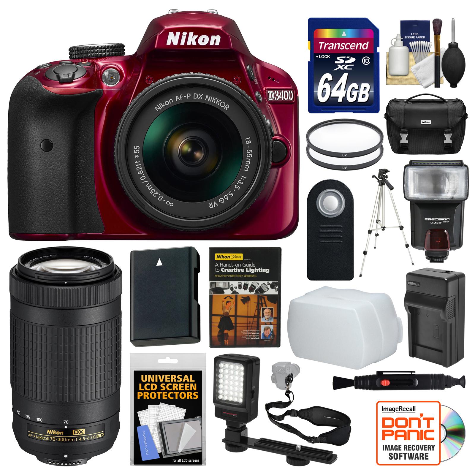 nikon d3400 digital slr camera & 18 55mm vr (red) & 70