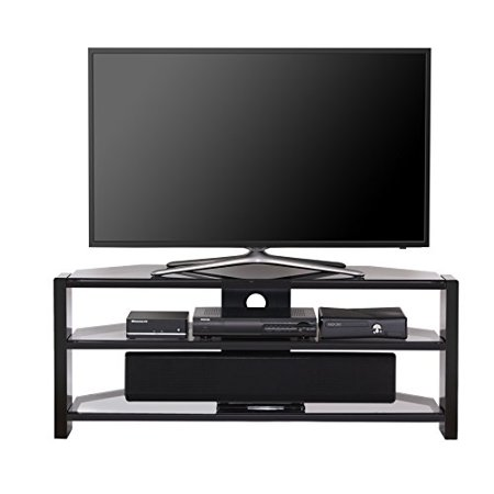 fitueyes gray morden style tv stand tempered glass finished media entertainment center for 32. Black Bedroom Furniture Sets. Home Design Ideas