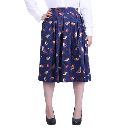 HDE Women's Plus Size High Waisted A-Line Street Skirt Pleated Flared Midi Skirt
