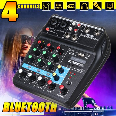 48V Fashion Professional bluetooth Studio Audio Mixer Professional 4 Channels Audio Mixing Console System DJ Sound USB Stereo Output Fit for family