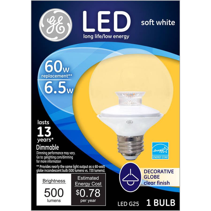 GE 60-Watt Equivalent (Uses 7 Watts) Clear G25 Decorative Globe LED, 1 Pack