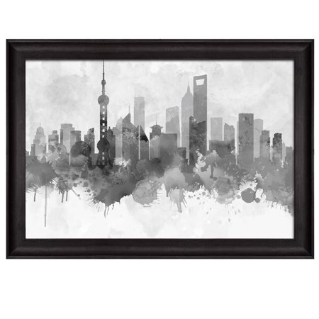 Wall26 Black And White City Of Shanghai In China With Watercolor Splotches Framed Art Prints Home Decor 24x36 Inches