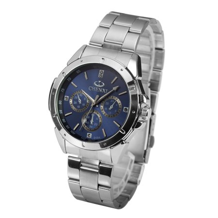 Blue Face Quartz Mens Watch Stainless Steel Case Fold Over Clasp Sports