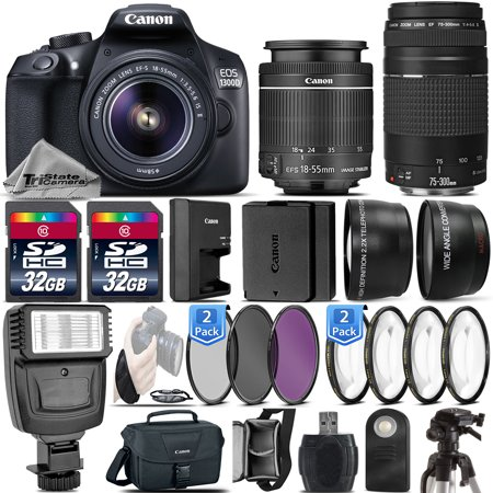 Canon EOS Rebel 1300D DSLR Camera + 18-55mm IS II + 75-300 III - 64GB Kit Bundle (Canon Camera D70)