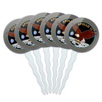 NASA Apollo 11 50th Anniversary Patch with Eagle on The Moon Cupcake Picks Toppers Decoration Set of 6