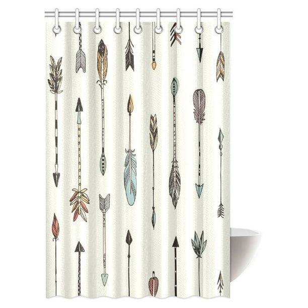 Black White Shower Curtain Tribe Vintage Arrow Print for Bathroom