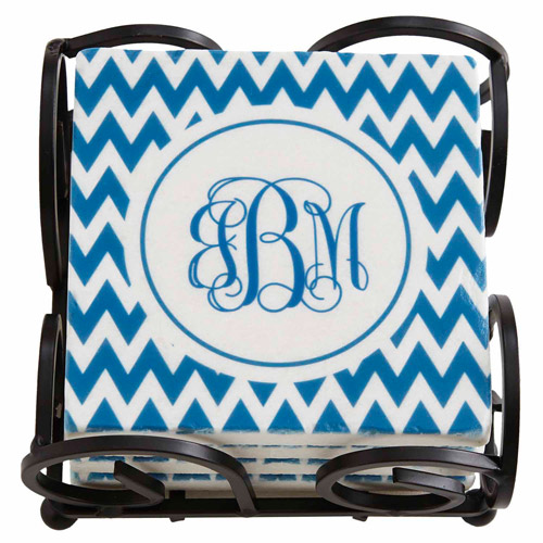 Personalized Chevron Monogram Coasters with Holder