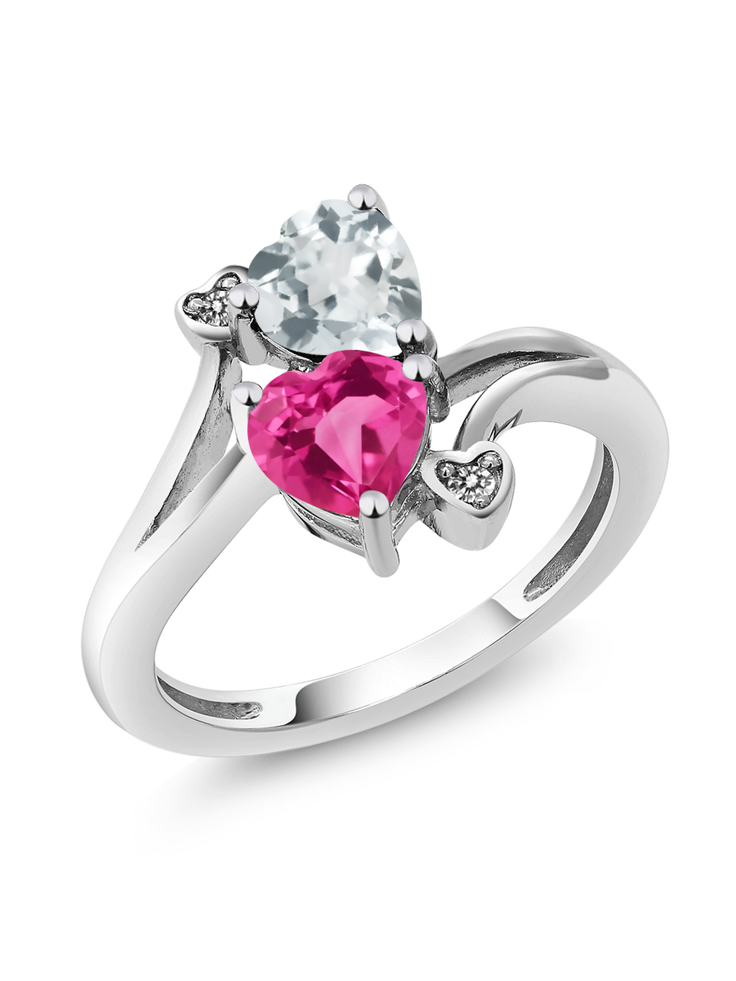 1.50 Ct Pink Created Sapphire Sky Blue Aquamarine 10K White Gold Ring by