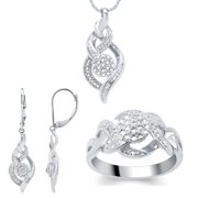 Divina Fashion Diamond 3-piece Jewelry Set White Size 8
