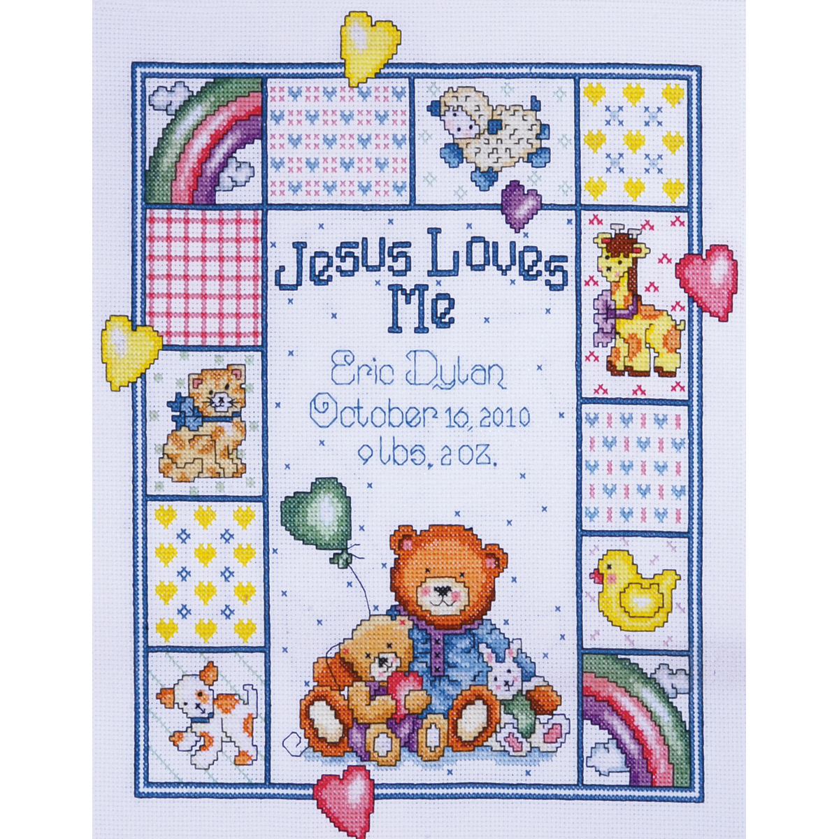 "Jesus Loves Me Sampler Counted Cross Stitch Kit, 11"" x 14"", 14-count"
