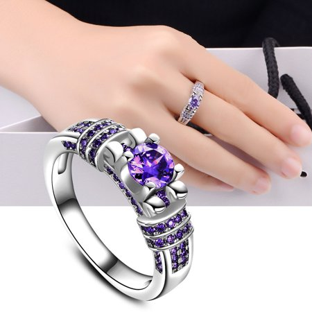 Women Fashion Jewelry Silver Purple Zircon Wedding Ring Size 7