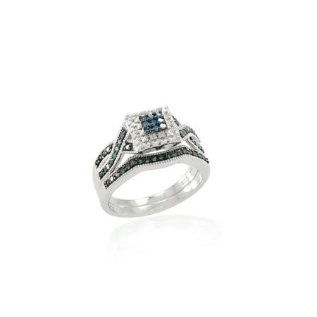 Blue Diamond Engagement Ring Set Wedding Vintage Style