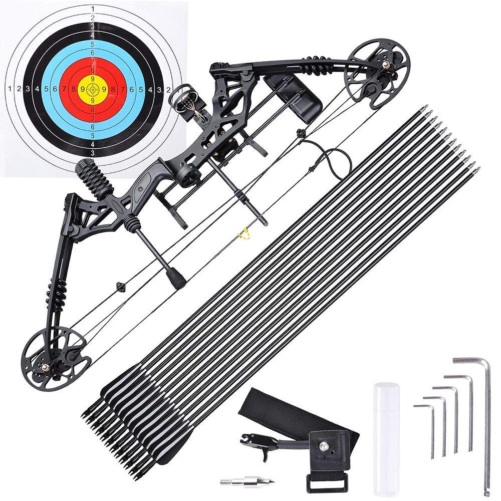 AW Pro Compound Right Hand Bow Kit w  12pcs Carbon Arrow Adjustable 20 70lbs Archery Set by AW