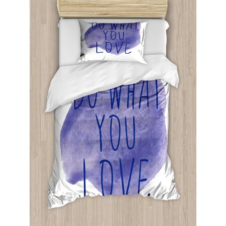 Love What You Do Duvet Cover Set, Motivation Words on Watercolor Stain Abstract Style Composition, Decorative Bedding Set with Pillow Shams, Indigo and White, by Ambesonne ()