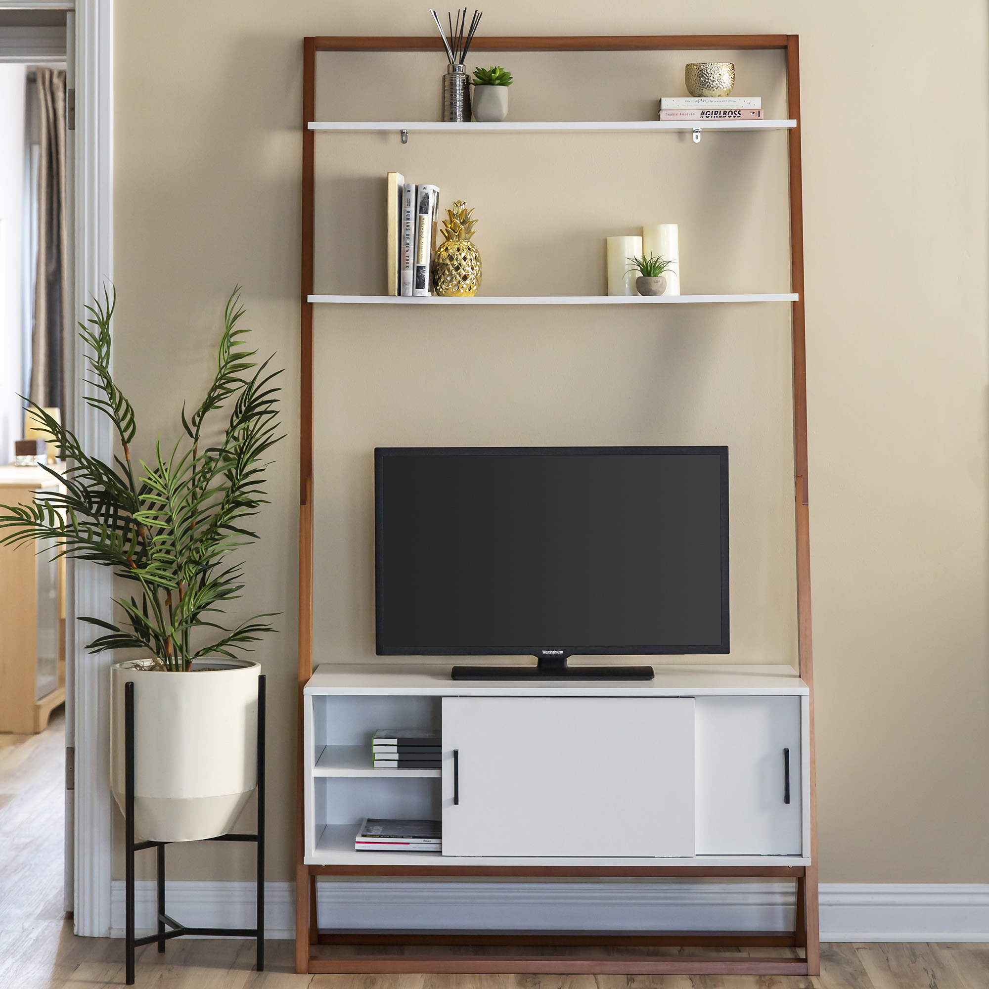 Best Choice Products 42in Modern Wooden Ladder Shelf TV Stand Entertainment Center Media Console w/ 2 Shelves, Sliding Door Storage Cabinet - White