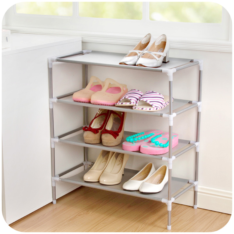 Estink 4 Tiers Stainless Steel Shoe Rack Non-woven Fabric Shoe Storage Stackable Shelves - Grey