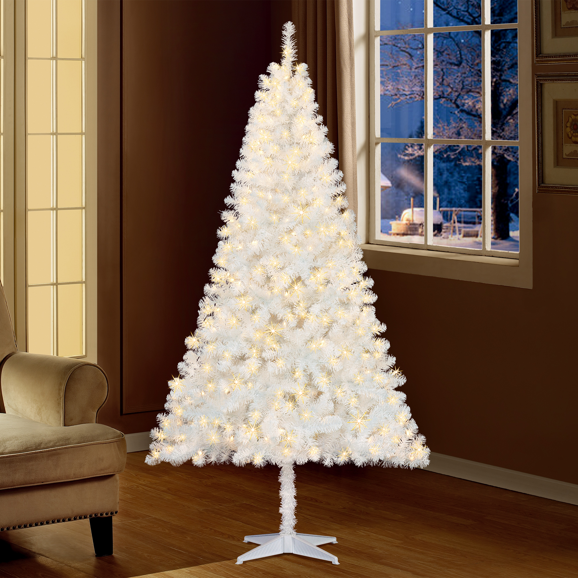 Holiday Time 6 5ft Pre Lit Madison Pine Artificial Christmas Tree With 350 Clear Lights White Walmart Com