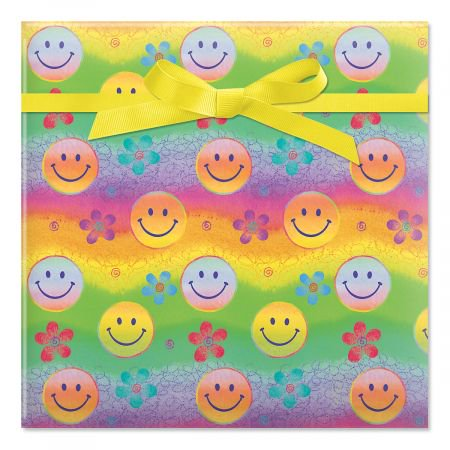 Smiley Faces Birthday Jumbo Rolled Gift Wrap - 67 sq. ft. heavyweight, tear-resistant and peek-proof wrap, Kids Birthday wrapping paper, Party Gift Wrap