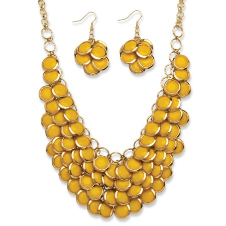 Gold Tone Bib (2 Piece Yellow Bib Necklace and Cluster Earrings Set in Yellow Gold)