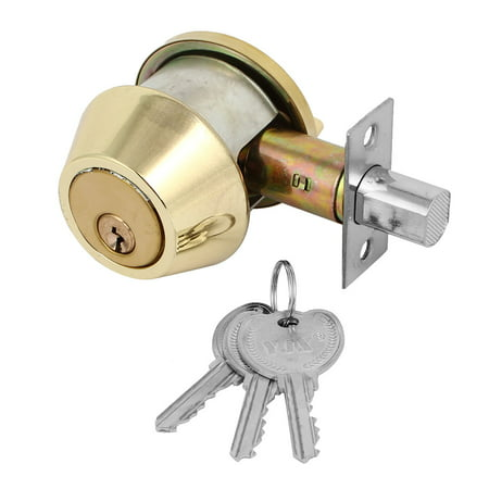 Unique Bargains Home Bedroom Single Door Locks with keys Cylinder Deadbolt  Security Gold Tone