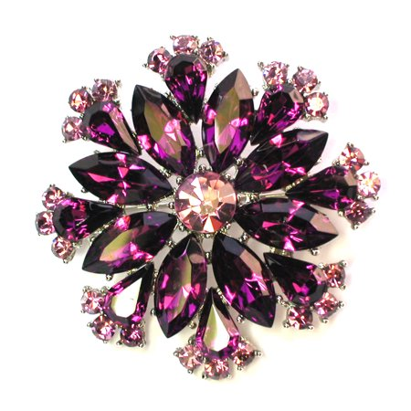 - Purple Pin Brooch Floral Snowflake