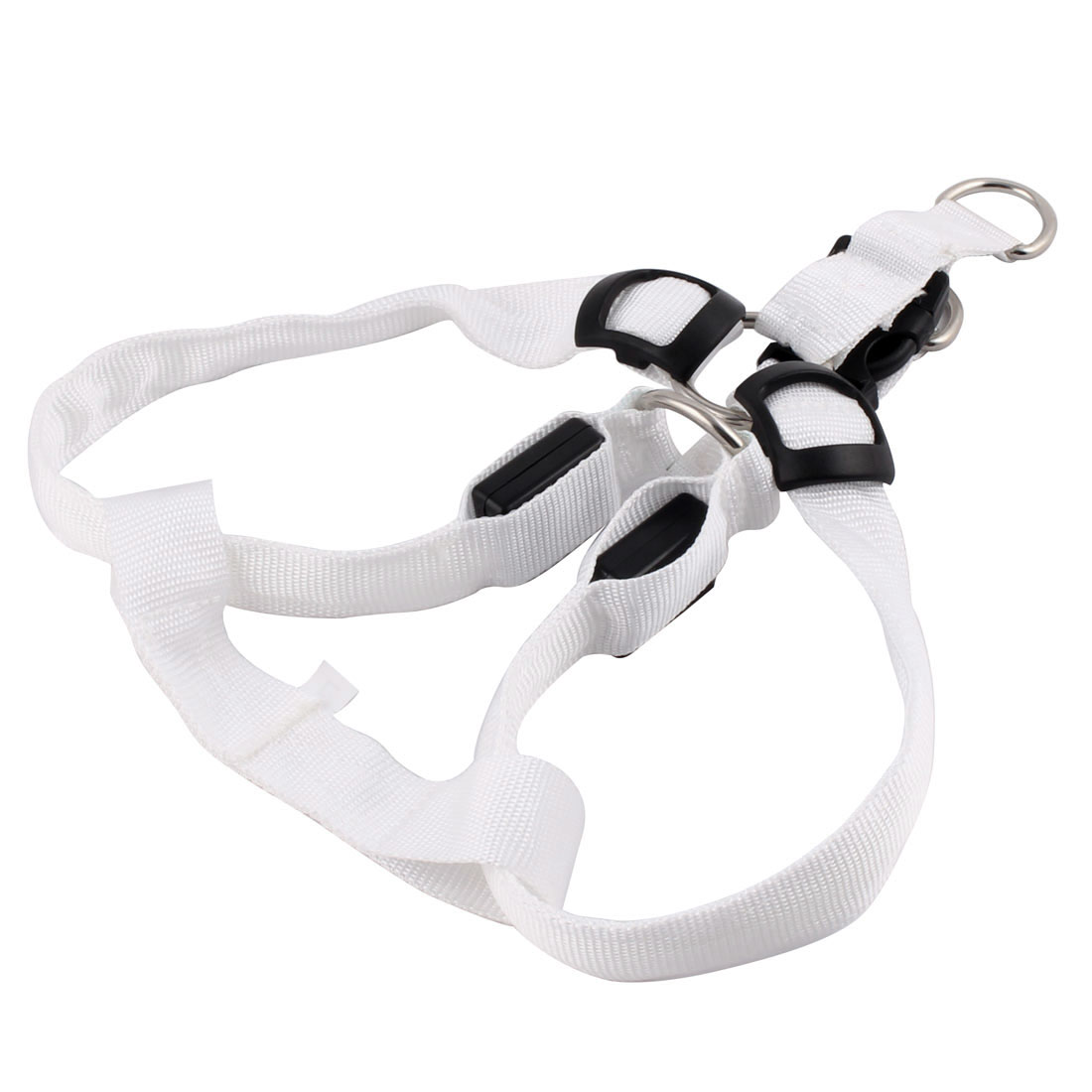 Pet Dog Puppy Nylon LED Flashing Light Night Safety Adjustable Chest Strap White