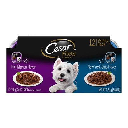 CESAR GOURMET FILETS Wet Dog Food Filet Mignon & New York Strip Flavors Variety Pack, (12) 3.5 oz. Trays
