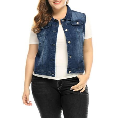 Women's Plus Size Chest Pockets Single Breasted Sleeveless Denim Vest Coat Blue 3X (Plus Size Ruffle Coat)