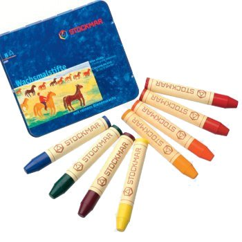Crayon Assortment - Stockmar Beeswax Stick Crayons in Storage Tin, Set of 8 Colors, Waldorf Assortment
