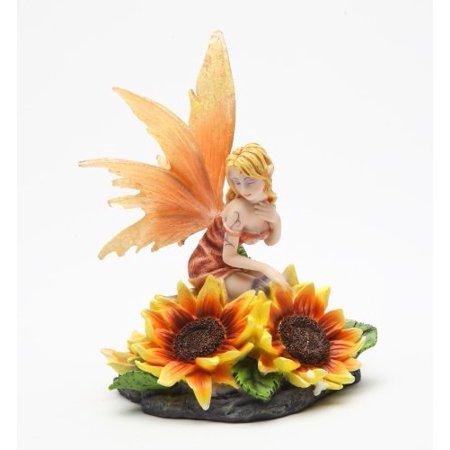 5 Inch Orange Flower Fairy Sitting on Sunflower Statue Figurine