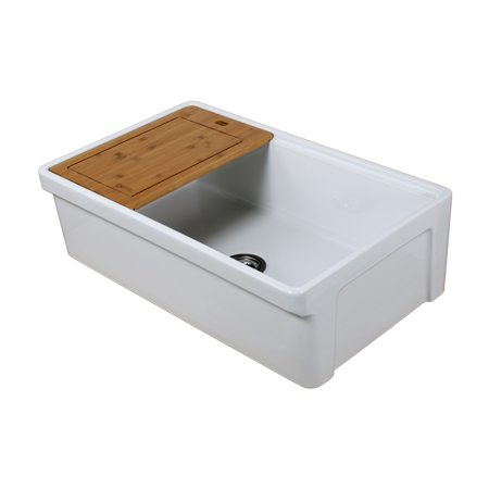 Farmhaus Fireclay Single Bowl (Tosca Farmhouse Fireclay 33 in. Single Bowl Kitchen Sink in White with Cutting-Board, Bottom Grid and)