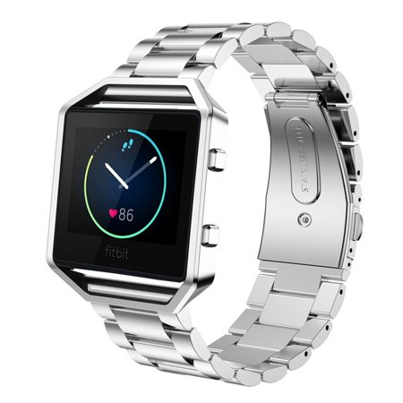 Stainless Steel Folding Clasp - Fitbit Blaze Accessories Watch Band, Mignova Solid Stainless Steel Link Bracelet Replacement Band Strap with Durable Folding Clasp + Metal Frame for Fitbit Blaze Smart Fitness Watch (Silver)