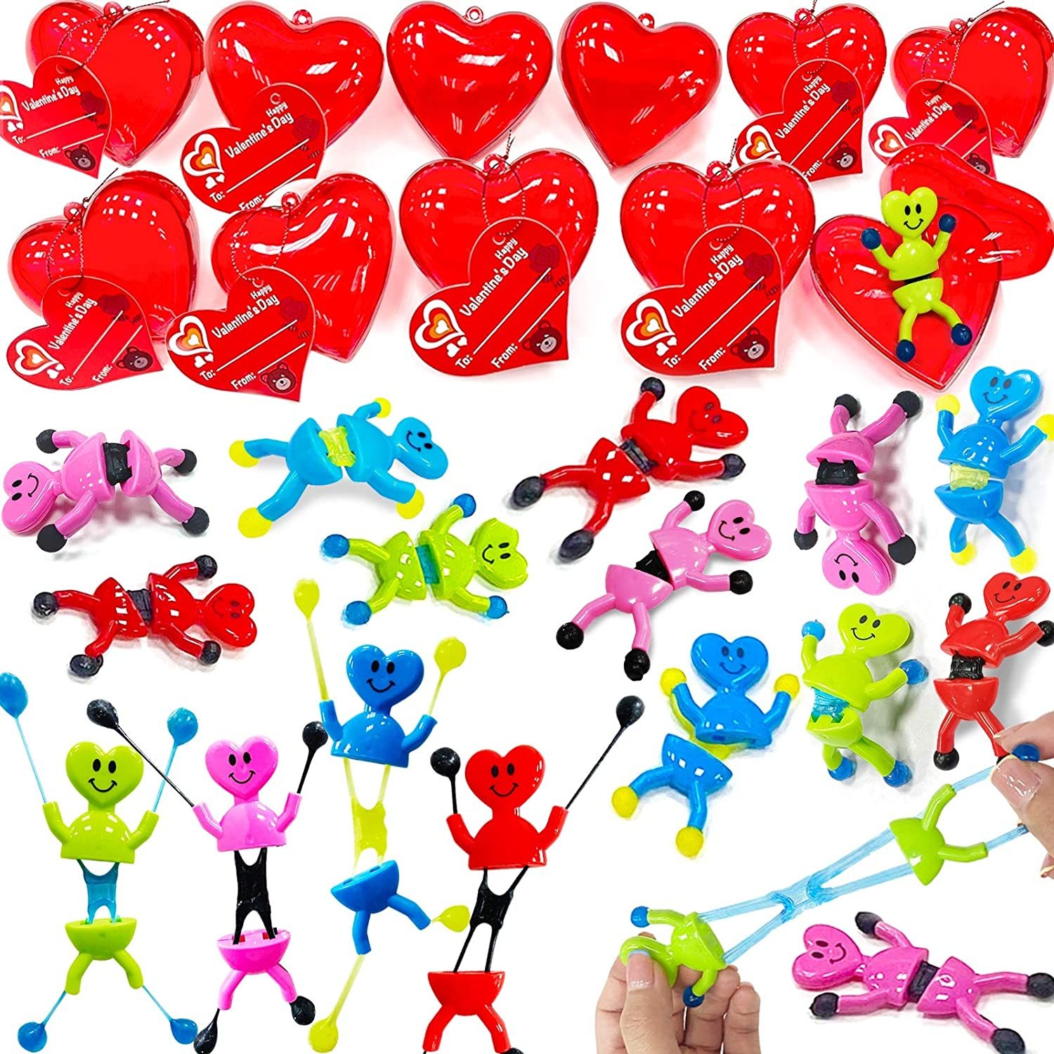 Valentine/'s Greeting Gifts Classroom Exchange Prizes JOYIN 26 Pieces Valentines Day Pre Filled Hearts with Valentine Cards Filled with Heart Building Blocks for Kids Party Favor