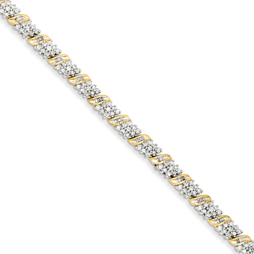 14k Yellow Gold Diamond Bracelet. Carat Wt- 1.98ct