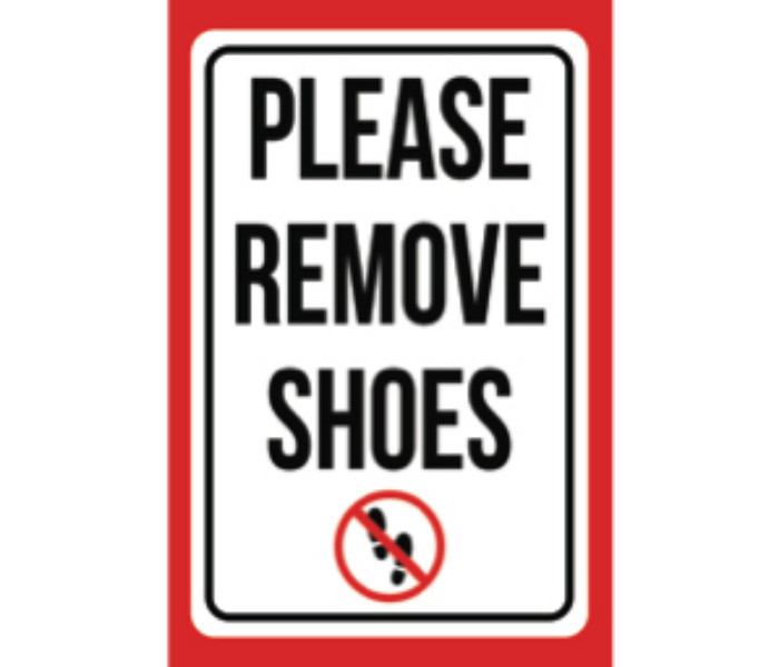 photograph about Please Remove Your Shoes Sign Printable Free called You should Take out Footwear Print Purple Black White Envision Brand Household Regulations Entrance Place Consideration Contemporary Indication Higher - Alumi, 12x18
