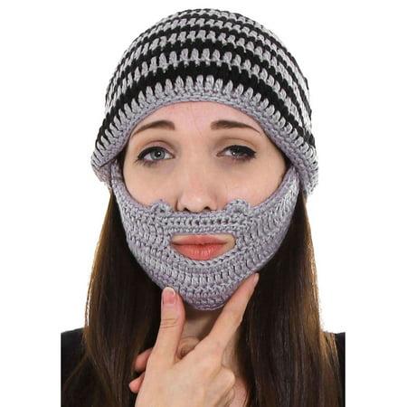Winter Crochet Beard Beanie Hat Mustache Mask Face Warmer Ski Cap ... 325f2d24968