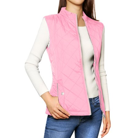 Reversible Quilted Vest - Women's Zip Up Quilted Padded Vest