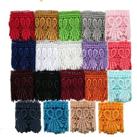 """1.75"""" Wide 20 Colors Red Green Lilac Black Navy Venice Lace Trim Guipure By Yard"""