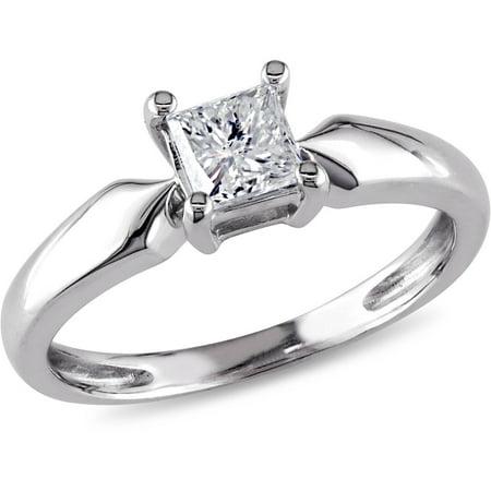 1/2 Carat T.W. Princess Cut Diamond Solitaire Engagement Ring in 14kt White (1 2 Carat Engagement Ring Princess Cut)