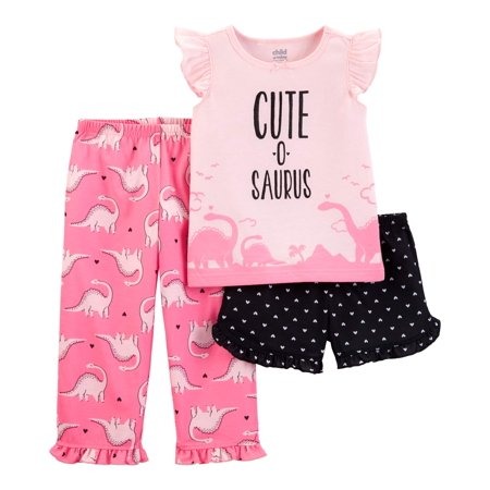 Child of Mine by Carter's Short sleeve t-shirt, shorts, and pants, 3 piece pajama set (toddler girls)](Girls Button Up Pajamas)
