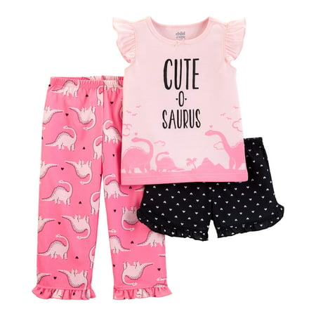 Child of Mine by Carter's Short sleeve t-shirt, shorts, and pants, 3 piece pajama set (toddler girls) - Girls Size 8 Pajamas