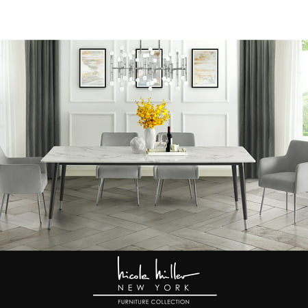 Nicole Miller Marble Dining Table - Design Lyric | White 90-Inch Top | Black/Silver Cast Iron Leg Cast Iron Router Tables